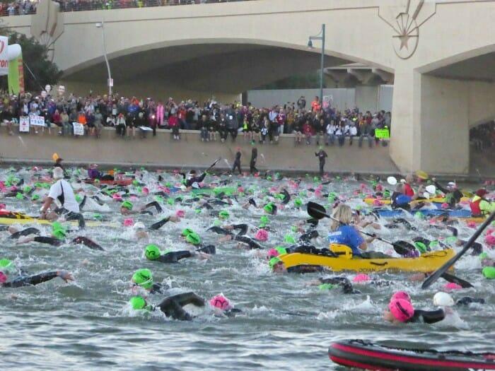 where is a good spectating spot for ironman arizona swim