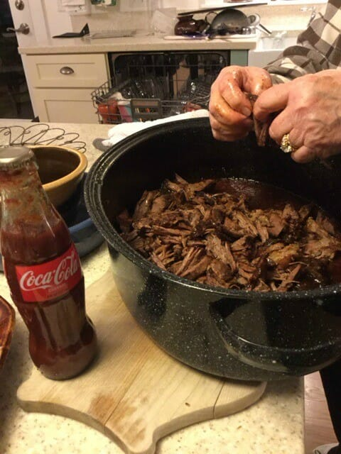 Pulled Beef BBQ - Just get in there and use your hands!