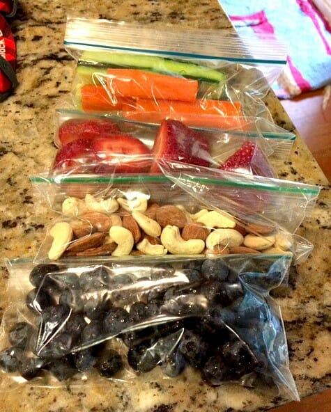 prepped snacks in triathlon kitchen