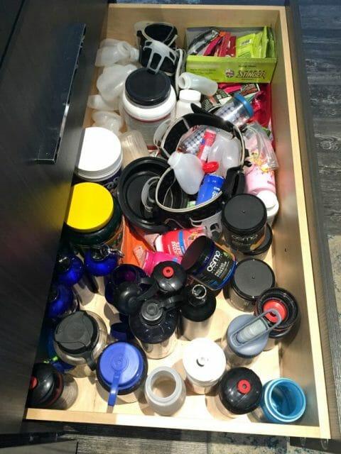 Bottle drawer in triathlete kitchen