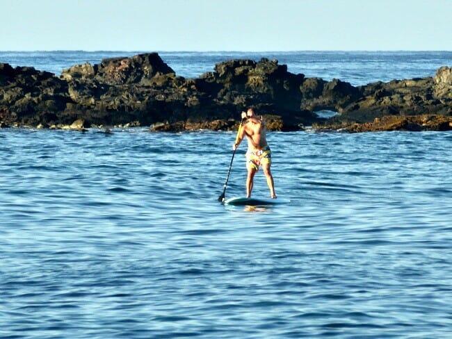 triathlete paddle board