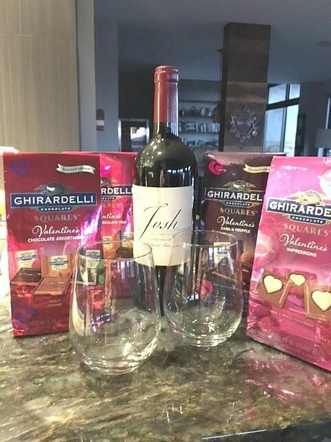 wine and chocolate for valentine's day