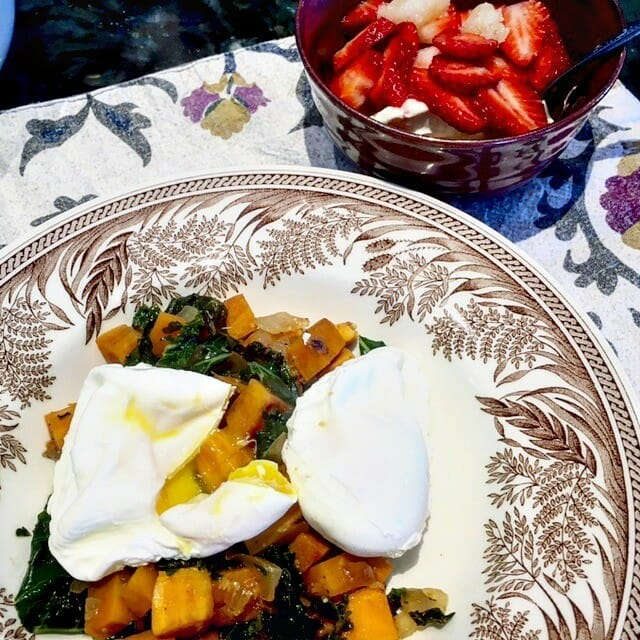 kale and sweet potato hash with poached eggs
