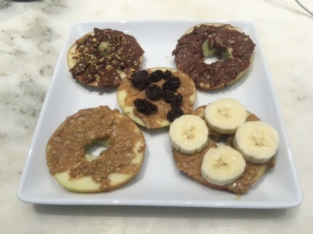 are apples topped with LARA nut butters a healthy snack