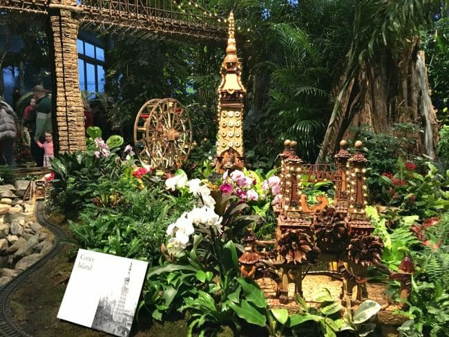 visit coney island as one exhibit at the new york botanical garden train show