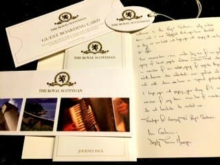 Journey packet from the Royal Scotsman