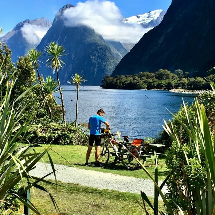 are there bikers in milford sound one of south island new zealand sites for triathletes