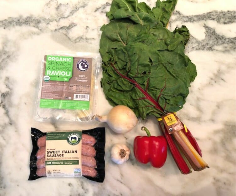 what are the ingredients to an easy and delicious ravioli dinner