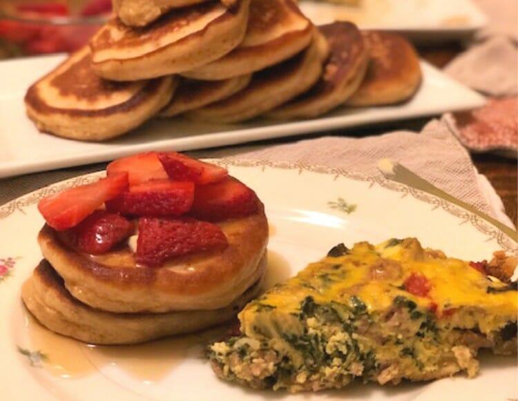pancakes and frittata breakfast for dinner