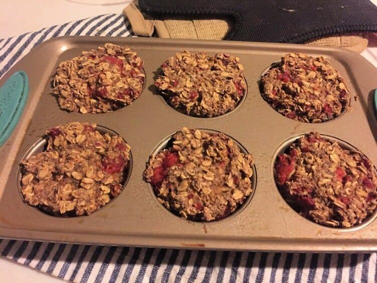 chia oatmeal cups recipe in muffin tin