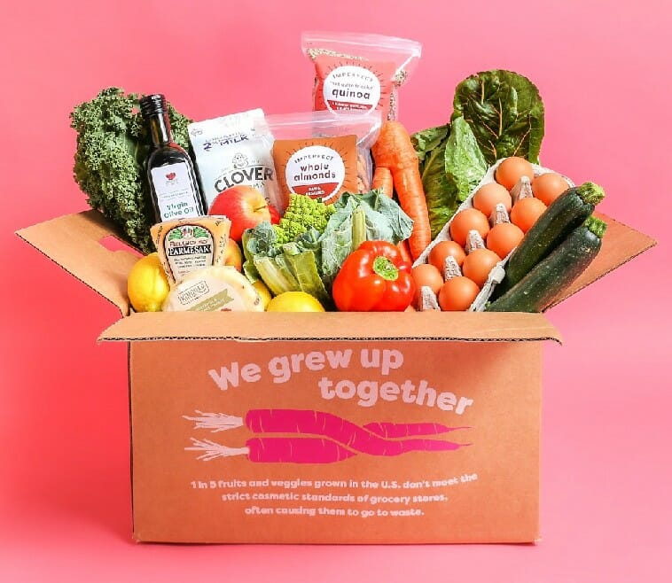 imperfect foods box of produce and pantry items