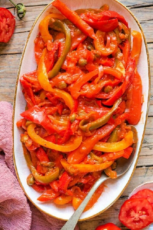 peperonata from inside the rustic kitchen