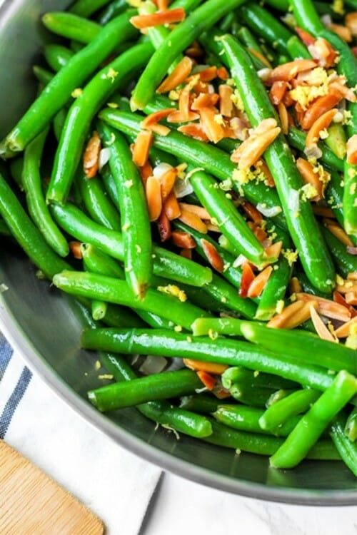 veggie side dishes green beans and almonds