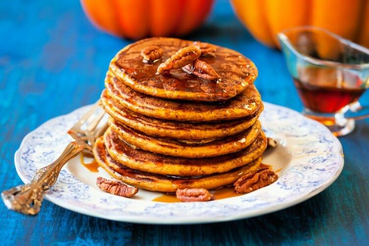 homemade pumpkin puree in pancakes